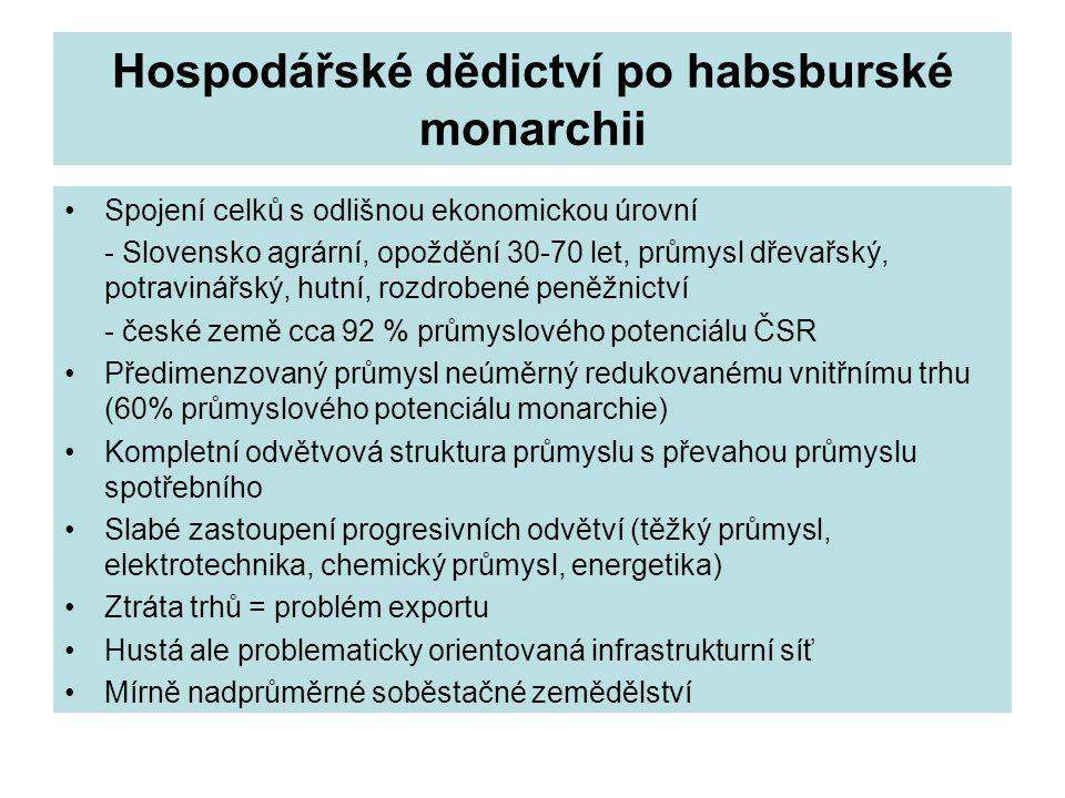 Hospodářské dědictví po habsburské monarchii Spojení celků s odlišnou ekonomickou úrovní - Slovensko agrární, opoždění 30-70 let, průmysl dřevařský, p