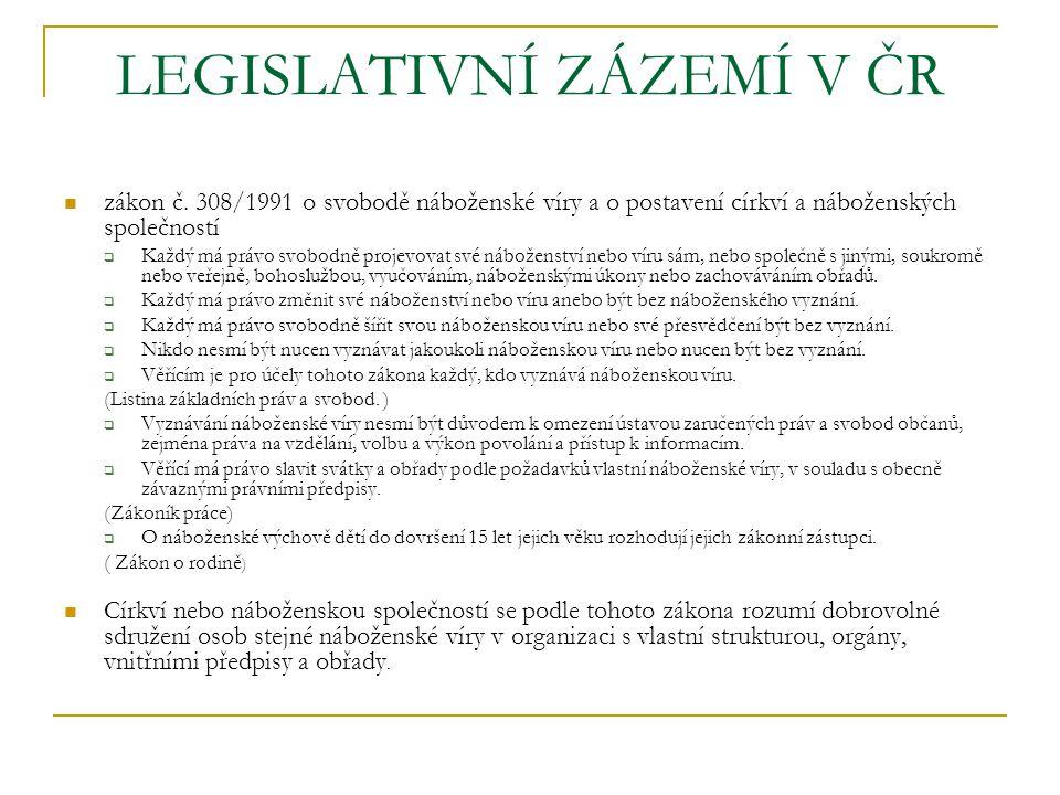 LEGISLATIVNÍ ZÁZEMÍ V ČR zákon č.