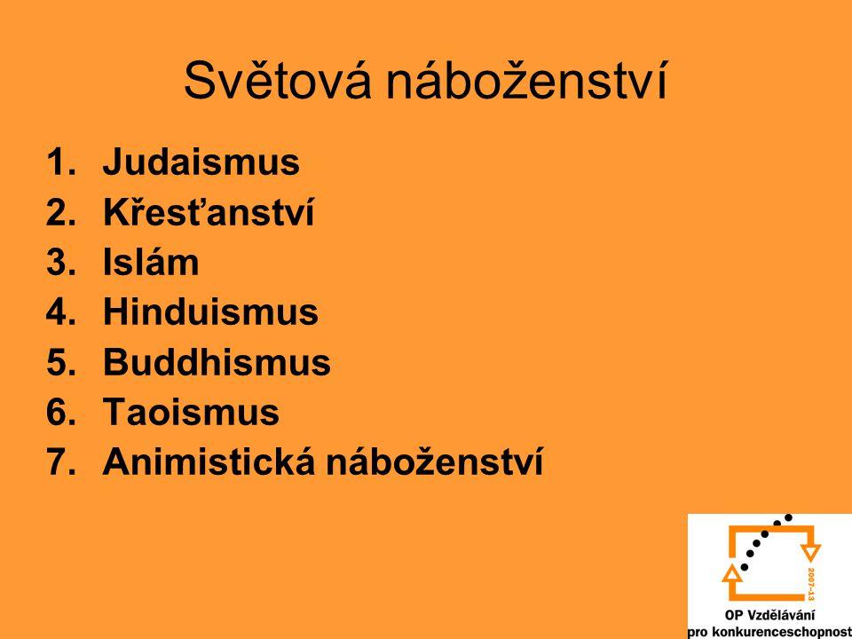 Světová náboženství 1.Judaismus 2.Křesťanství 3.Islám 4.Hinduismus 5.Buddhismus 6.Taoismus 7.Animistická náboženství