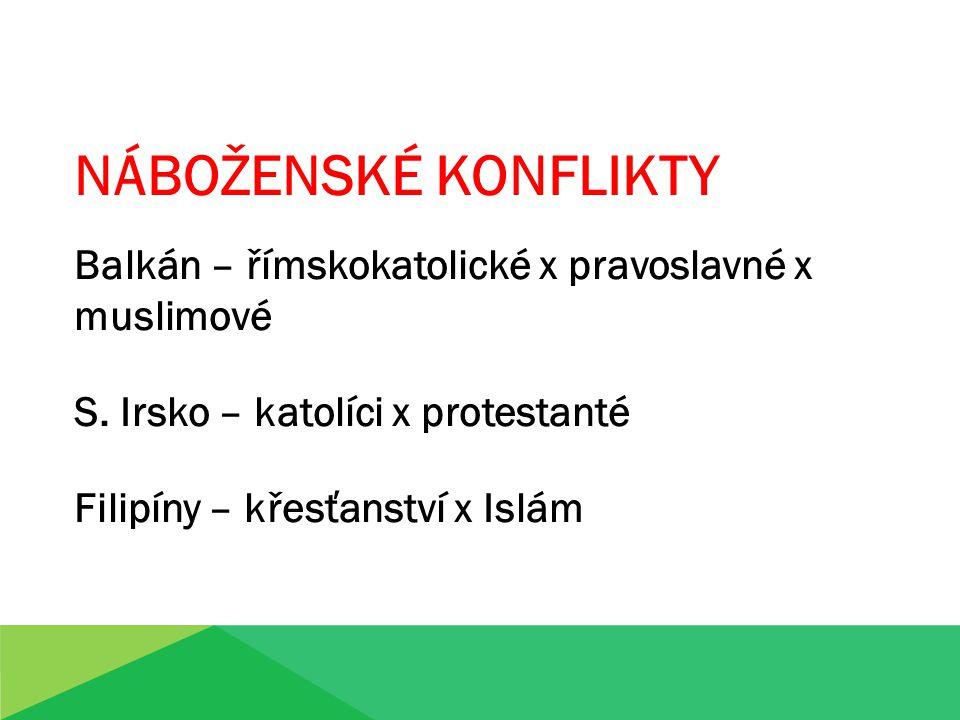 NÁBOŽENSKÉ KONFLIKTY Balkán – římskokatolické x pravoslavné x muslimové S.