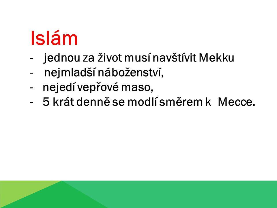 Islám -jednou za život musí navštívit Mekku -nejmladší náboženství, - nejedí vepřové maso, - 5 krát denně se modlí směrem k Mecce.