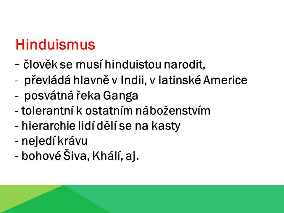 Hinduismus - člověk se musí hinduistou narodit, -převládá hlavně v Indii, v latinské Americe -posvátná řeka Ganga - tolerantní k ostatním náboženstvím - hierarchie lidí dělí se na kasty - nejedí krávu - bohové Šiva, Khálí, aj.