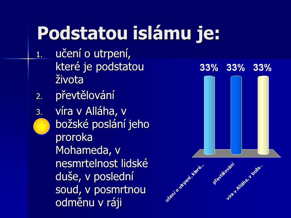 Podstatou islámu je: 1. učení o utrpení, které je podstatou života 2. převtělování 3. víra v Alláha, v božské poslání jeho proroka Mohameda, v nesmrte