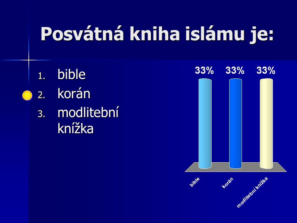 Posvátná kniha islámu je: 1. bible 2. korán 3. modlitební knížka