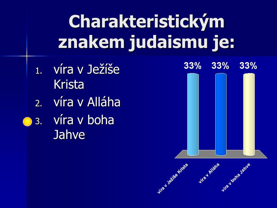 Charakteristickým znakem judaismu je: 1. víra v Ježíše Krista 2. víra v Alláha 3. víra v boha Jahve