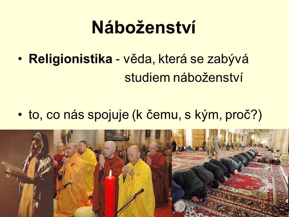 Náboženství Religionistika - věda, která se zabývá studiem náboženství to, co nás spojuje (k čemu, s kým, proč?)