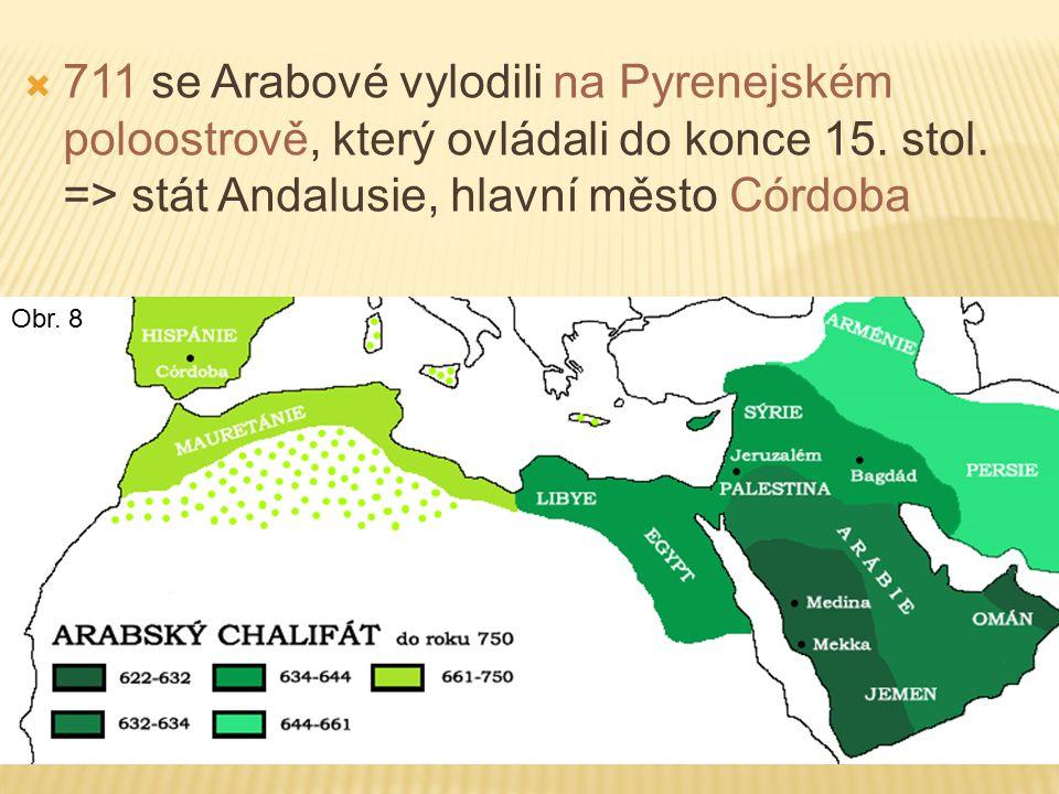  711 se Arabové vylodili na Pyrenejském poloostrově, který ovládali do konce 15.