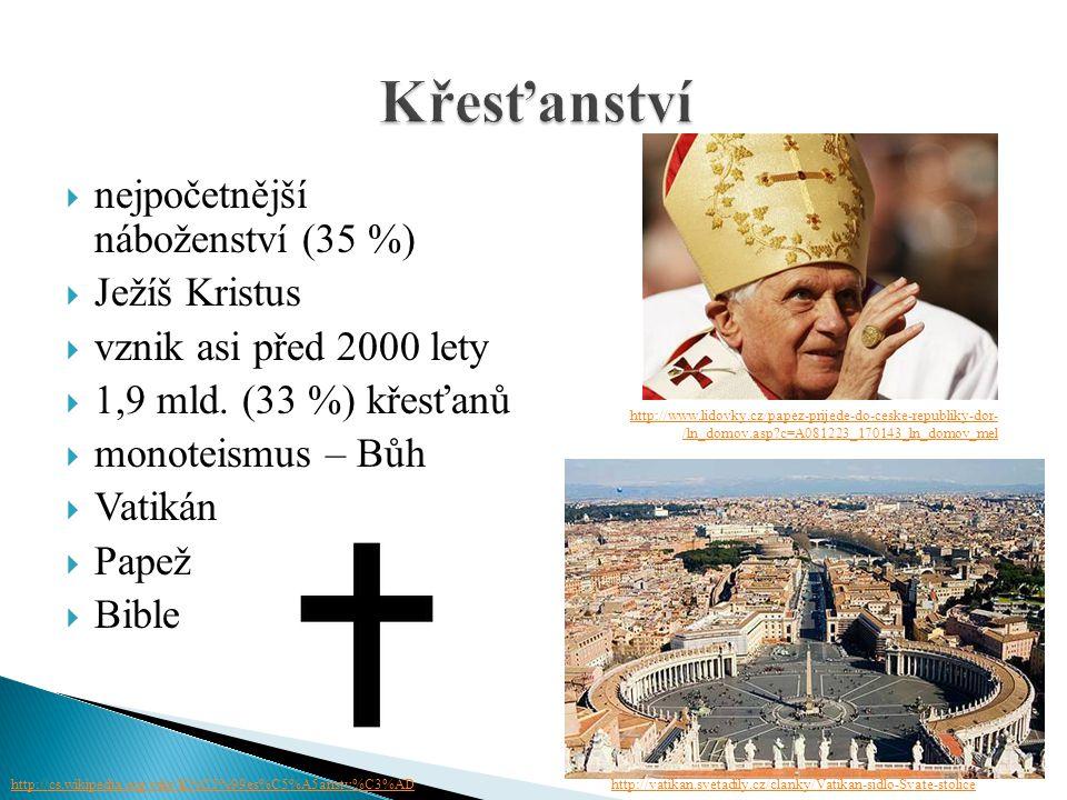 nejpočetnější náboženství (35 %)  Ježíš Kristus  vznik asi před 2000 lety  1,9 mld. (33 %) křesťanů  monoteismus – Bůh  Vatikán  Papež  Bibl