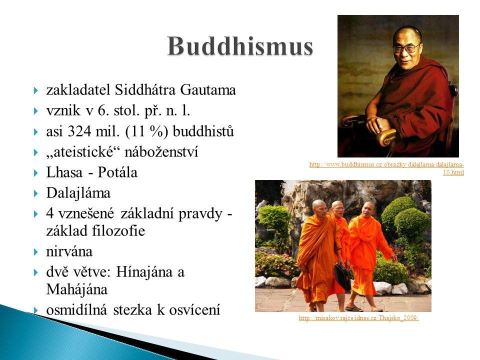 """ zakladatel Siddhátra Gautama  vznik v 6. stol. př. n. l.  asi 324 mil. (11 %) buddhistů  """"ateistické"""" náboženství  Lhasa - Potála  Dalajláma """