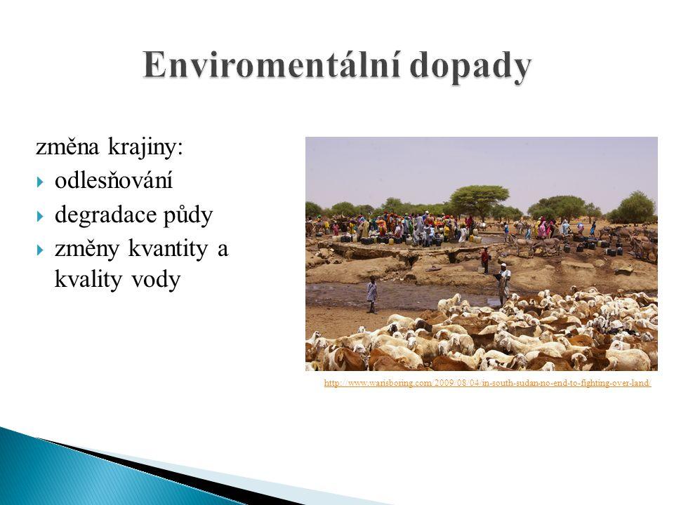 změna krajiny:  odlesňování  degradace půdy  změny kvantity a kvality vody http://www.warisboring.com/2009/08/04/in-south-sudan-no-end-to-fighting-