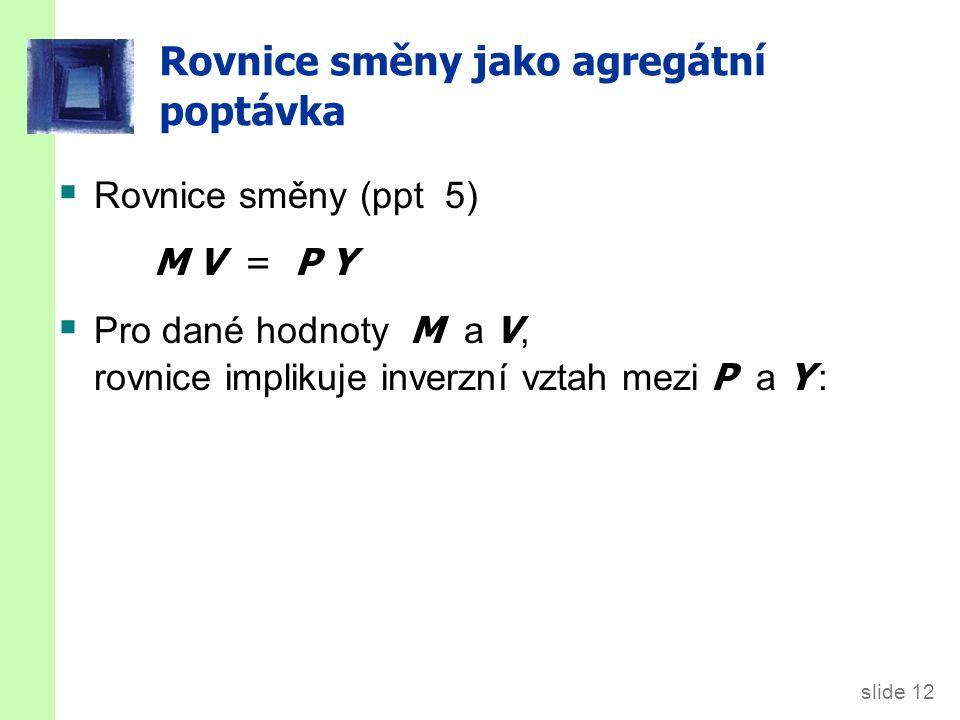 slide 12 Rovnice směny jako agregátní poptávka  Rovnice směny (ppt 5) M V = P Y  Pro dané hodnoty M a V, rovnice implikuje inverzní vztah mezi P a Y