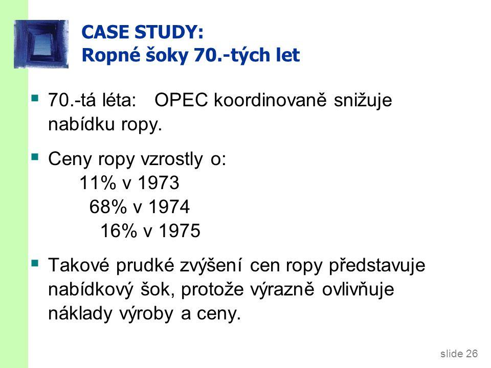 slide 26 CASE STUDY: Ropné šoky 70.-tých let  70.-tá léta: OPEC koordinovaně snižuje nabídku ropy.  Ceny ropy vzrostly o: 11% v 1973 68% v 1974 16%