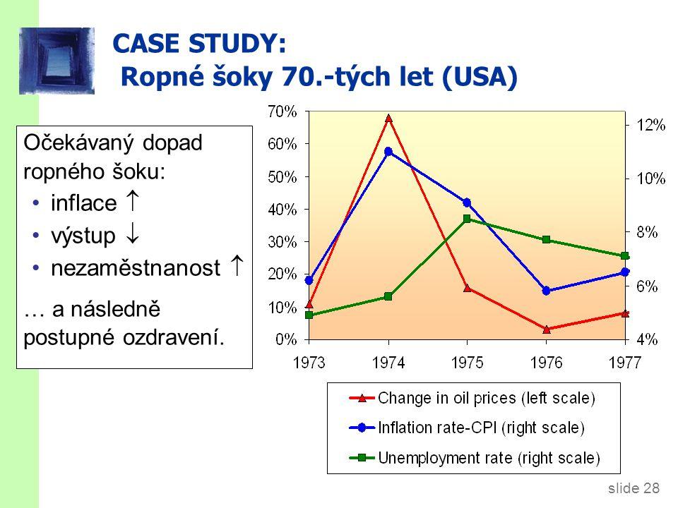 slide 28 CASE STUDY: Ropné šoky 70.-tých let (USA) Očekávaný dopad ropného šoku: inflace  výstup  nezaměstnanost  … a následně postupné ozdravení.