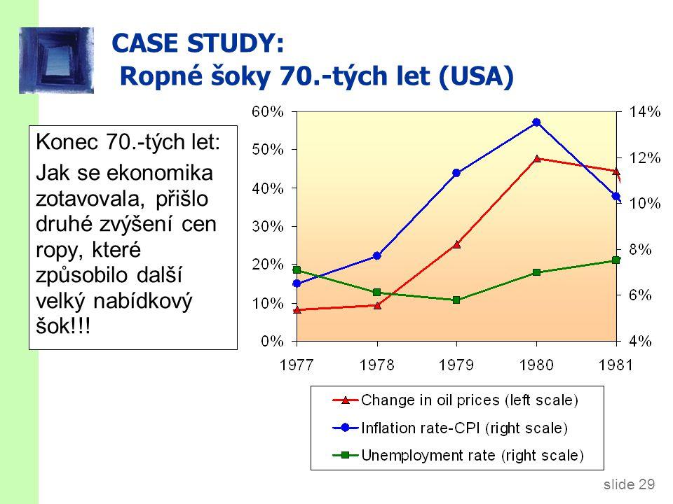 slide 29 CASE STUDY: Ropné šoky 70.-tých let (USA) Konec 70.-tých let: Jak se ekonomika zotavovala, přišlo druhé zvýšení cen ropy, které způsobilo dal