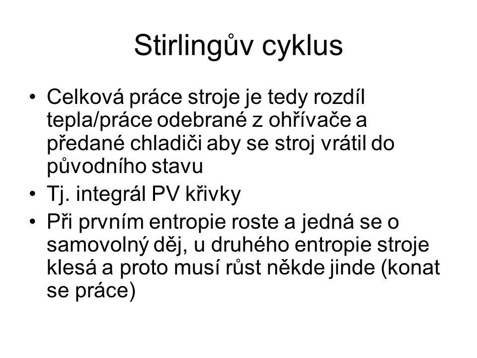 Stirlingův cyklus Celková práce stroje je tedy rozdíl tepla/práce odebrané z ohřívače a předané chladiči aby se stroj vrátil do původního stavu Tj.