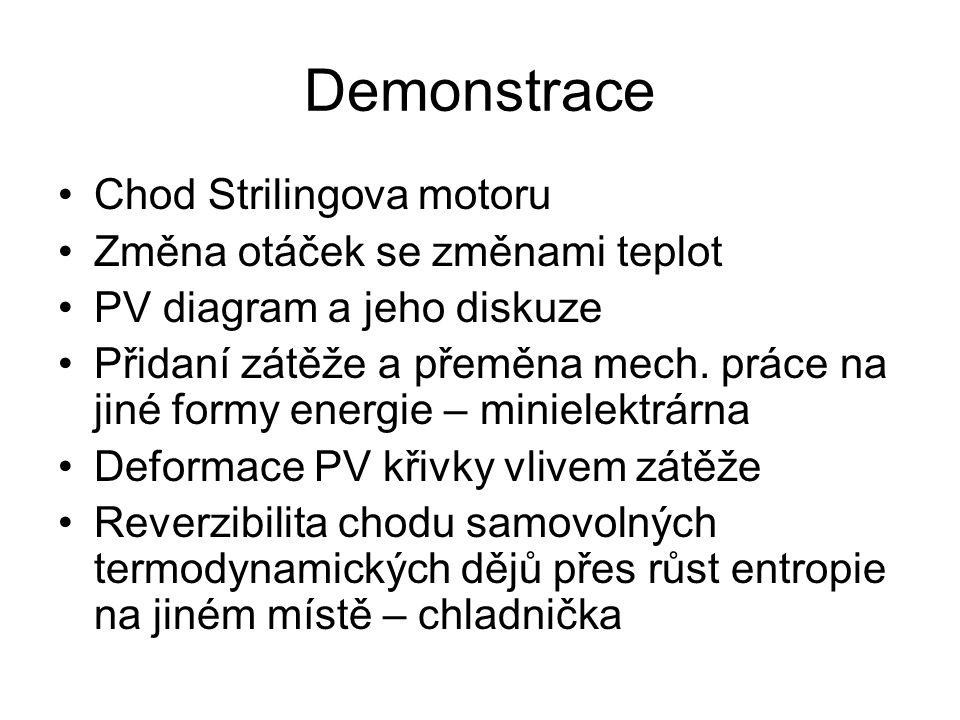 Demonstrace Chod Strilingova motoru Změna otáček se změnami teplot PV diagram a jeho diskuze Přidaní zátěže a přeměna mech.