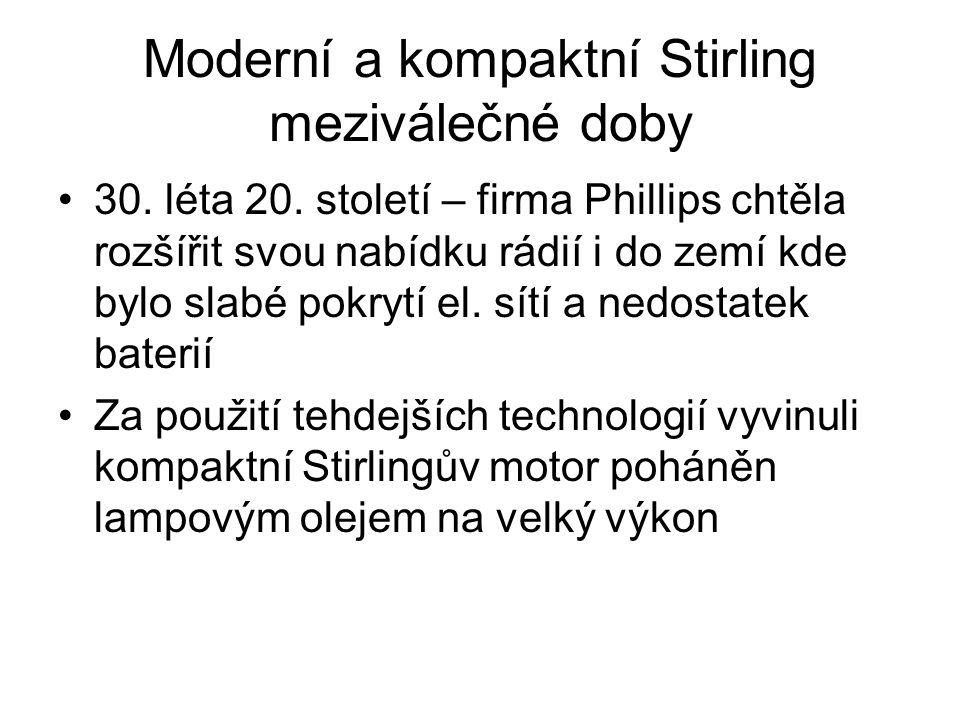 Moderní a kompaktní Stirling meziválečné doby 30.léta 20.
