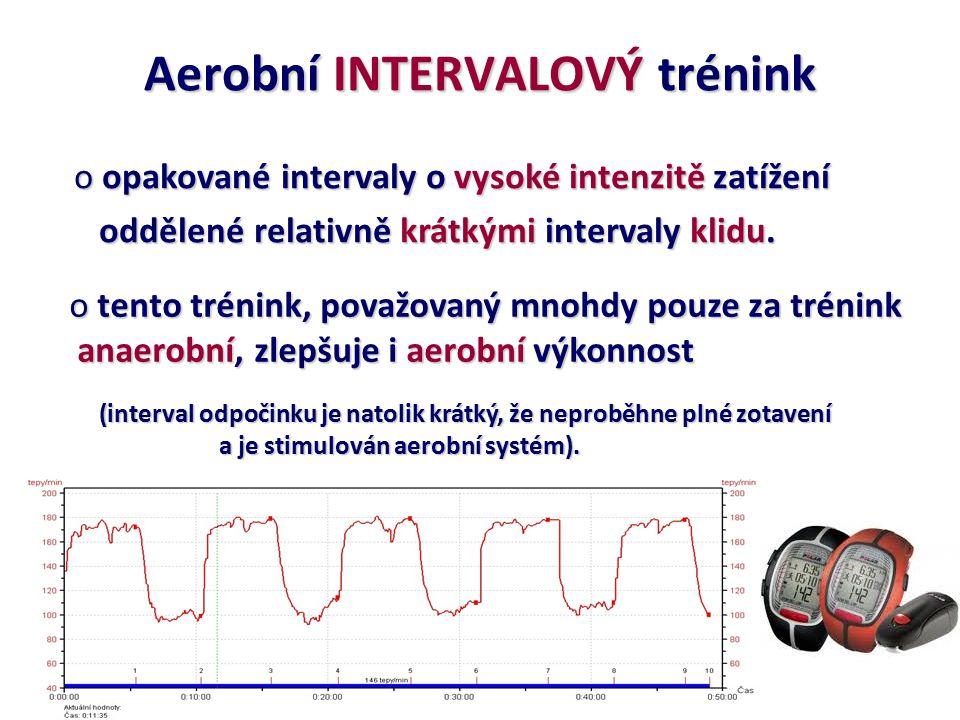 Aerobní INTERVALOVÝ trénink o opakované intervaly o vysoké intenzitě zatížení oddělené relativně krátkými intervaly klidu. oddělené relativně krátkými
