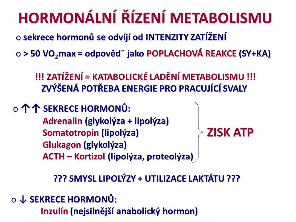 HORMONÁLNÍ ŘÍZENÍ METABOLISMU o sekrece hormonů se odvíjí od INTENZITY ZATÍŽENÍ o > 50 VO 2 max = odpovědˇ jako POPLACHOVÁ REAKCE (SY+KA) !!! ZATÍŽENÍ