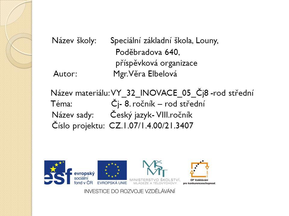 Název školy: Speciální základní škola, Louny, Poděbradova 640, příspěvková organizace Autor: Mgr. Věra Elbelová Název materiálu: VY_32_INOVACE_05_Čj8