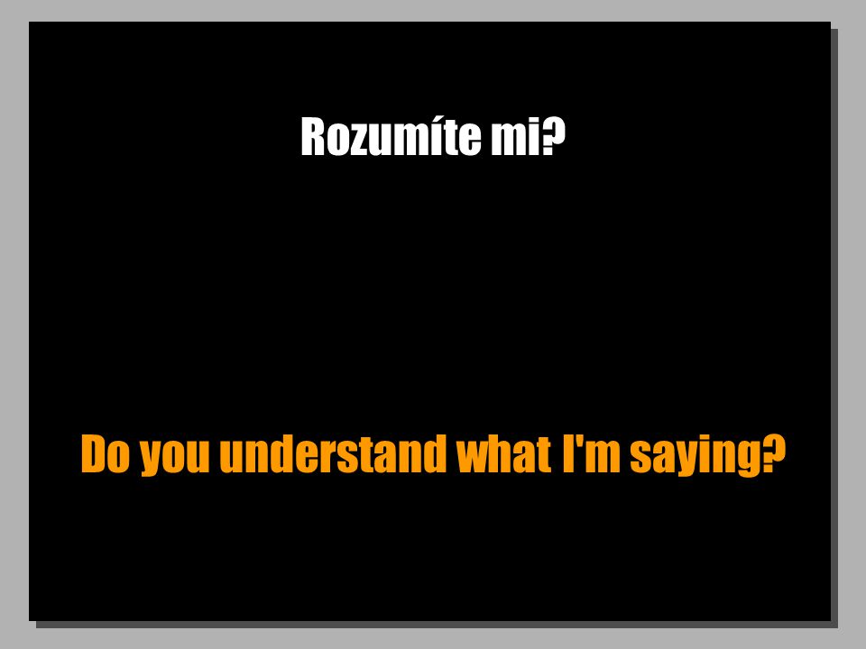 Rozumíte mi Do you understand what I m saying