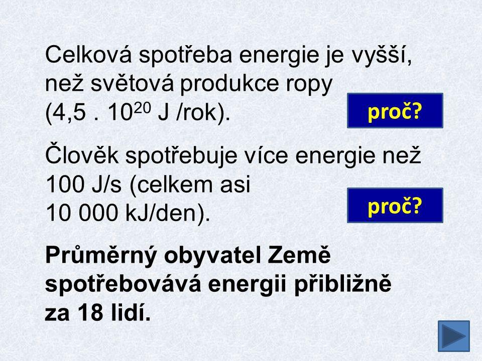 Celková spotřeba energie je vyšší, než světová produkce ropy (4,5. 10 20 J /rok). Člověk spotřebuje více energie než 100 J/s (celkem asi 10 000 kJ/den