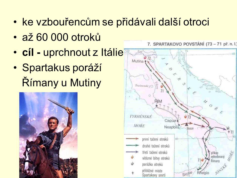ke vzbouřencům se přidávali další otroci až 60 000 otroků cíl - uprchnout z Itálie Spartakus poráží Římany u Mutiny