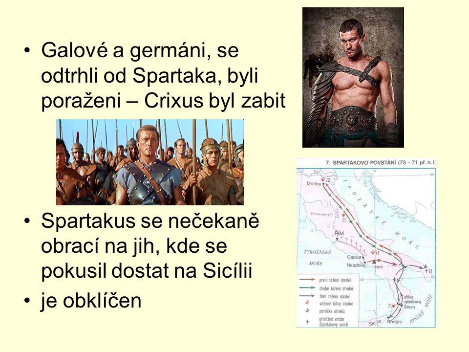 Galové a germáni, se odtrhli od Spartaka, byli poraženi – Crixus byl zabit Spartakus se nečekaně obrací na jih, kde se pokusil dostat na Sicílii je ob