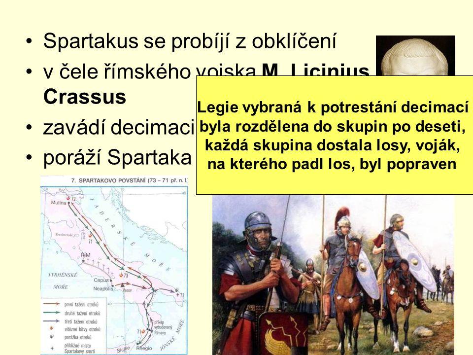Spartakus se probíjí z obklíčení v čele římského vojska M. Licinius Crassus zavádí decimaci poráží Spartaka v Apulii Legie vybraná k potrestání decima