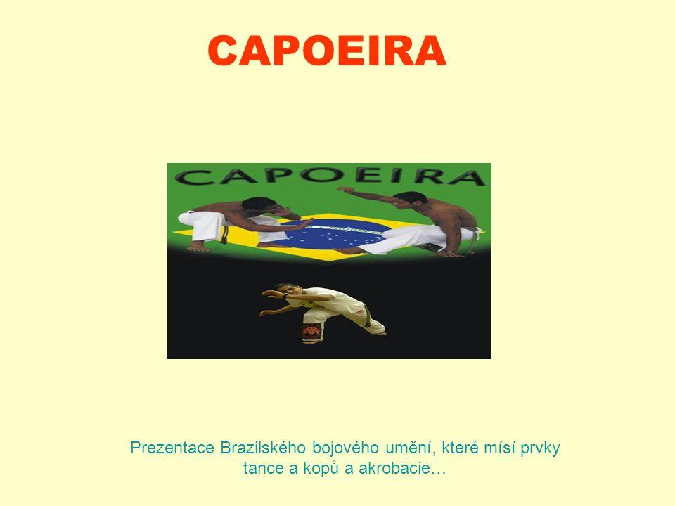 CAPOEIRA Prezentace Brazilského bojového umění, které mísí prvky tance a kopů a akrobacie…
