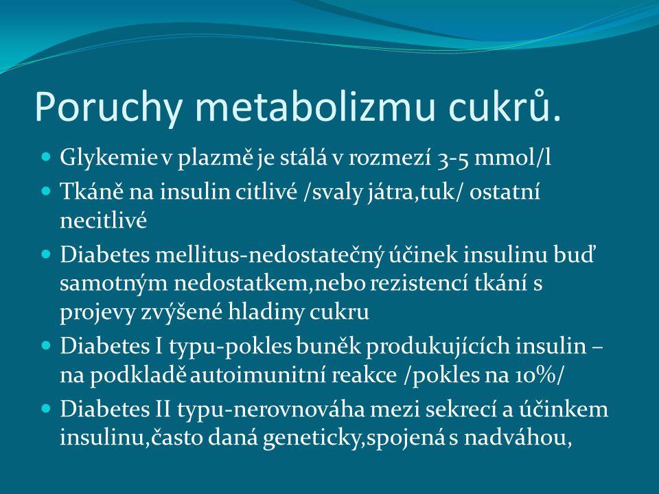 Poruchy metabolizmu cukrů.
