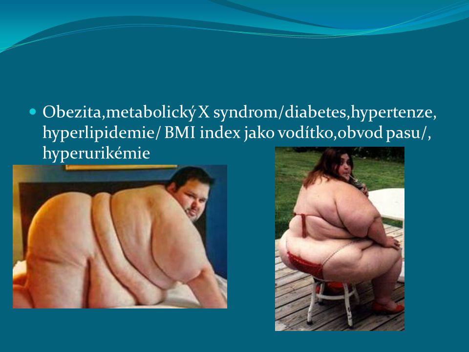 Obezita,metabolický X syndrom/diabetes,hypertenze, hyperlipidemie/ BMI index jako vodítko,obvod pasu/, hyperurikémie