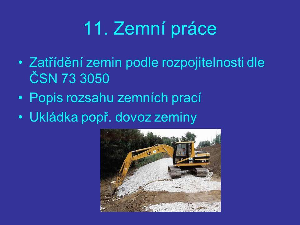 11. Zemní práce Zatřídění zemin podle rozpojitelnosti dle ČSN 73 3050 Popis rozsahu zemních prací Ukládka popř. dovoz zeminy