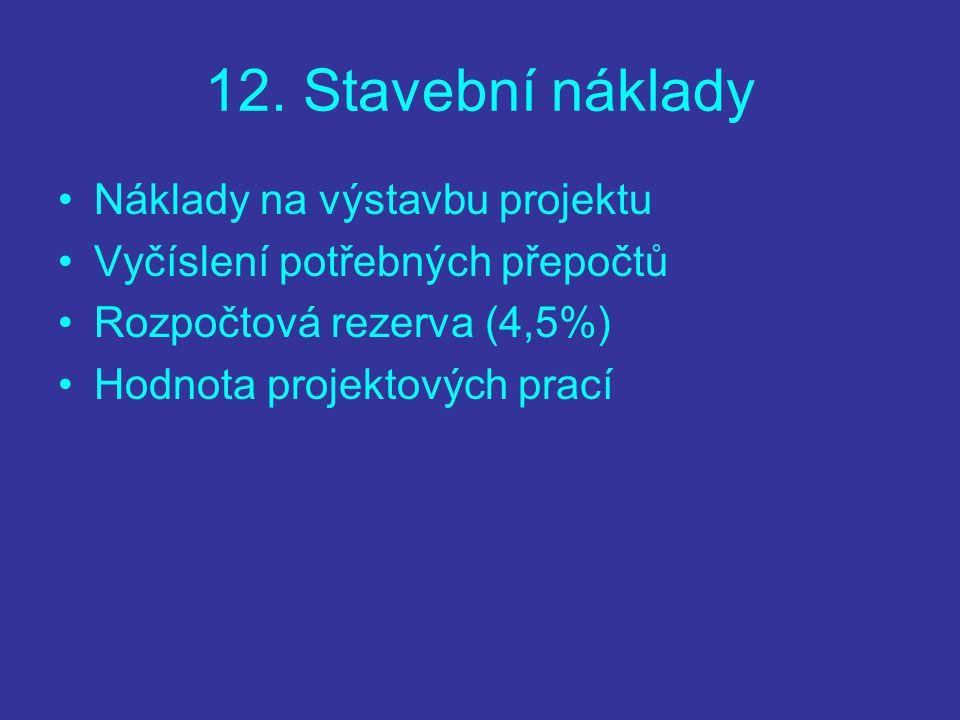 12. Stavební náklady Náklady na výstavbu projektu Vyčíslení potřebných přepočtů Rozpočtová rezerva (4,5%) Hodnota projektových prací