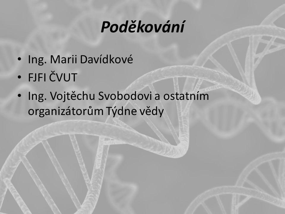 Poděkování Ing. Marii Davídkové FJFI ČVUT Ing. Vojtěchu Svobodovi a ostatním organizátorům Týdne vědy