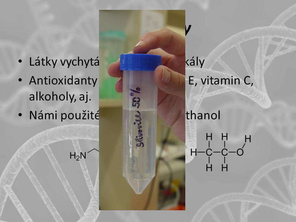 Scavengery Látky vychytávající volné radikály Antioxidanty – thioly, vitamin E, vitamin C, alkoholy, aj. Námi použité: glycylglycin a ethanol
