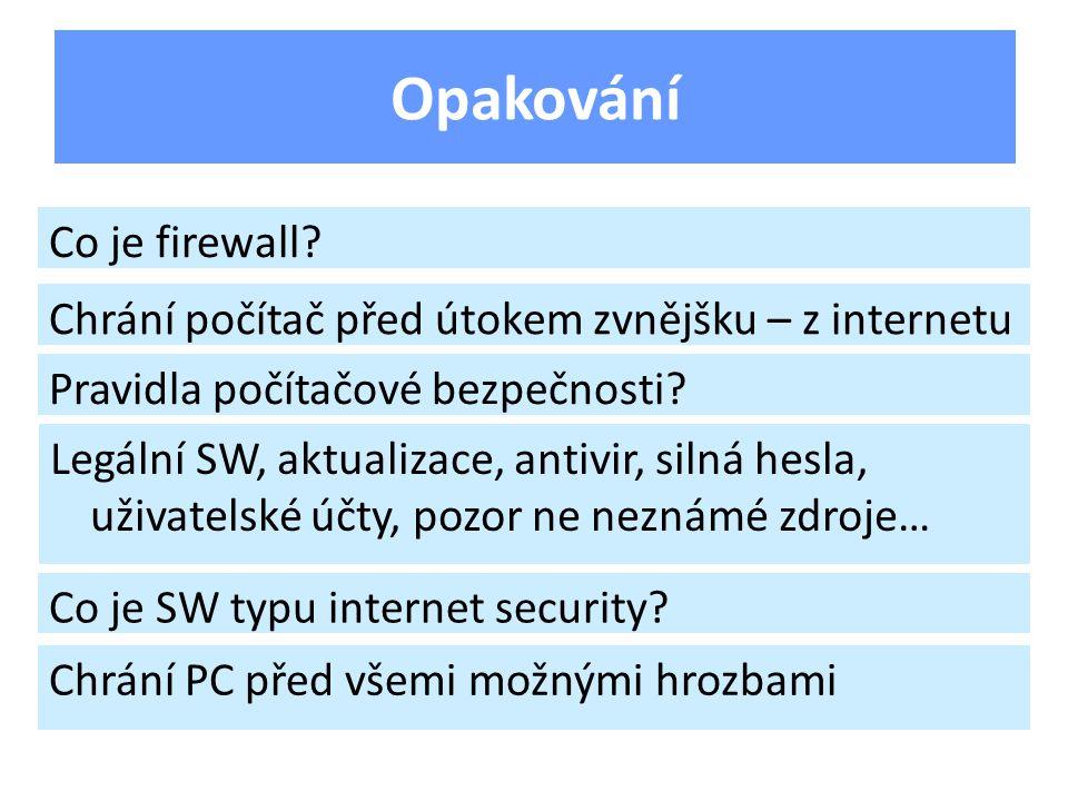 Opakování Co je firewall.
