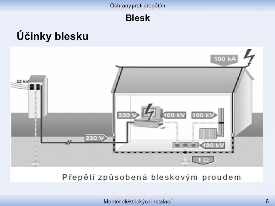 Ochrany proti přepětím Montér elektrických instalací 17 Stupně ochrany před bleskem Na přechodech mezi zónami ochrany se instalují tři stupně ochrany před přepětím.