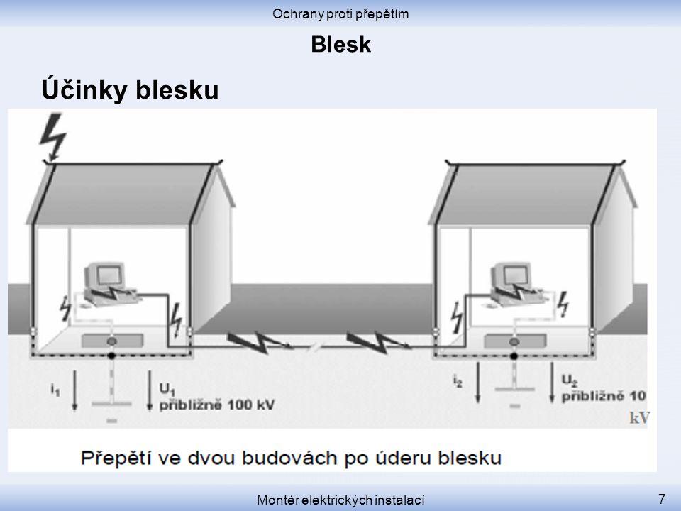 Ochrany proti přepětím Montér elektrických instalací 18 Stupně ochrany před bleskem Stupeň 1 – mezi zónami LPZ 0 a 1 Jiskřiště, bleskojistky.