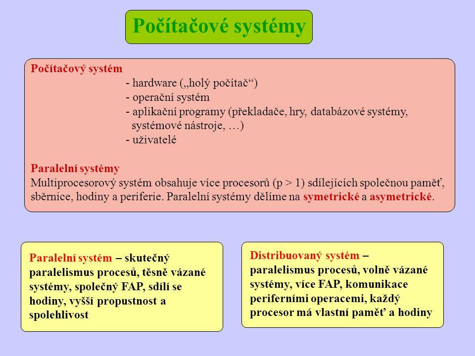 """Počítačový systém - hardware (""""holý počítač ) - operační systém - aplikační programy (překladače, hry, databázové systémy, systémové nástroje, …) - uživatelé Paralelní systémy Multiprocesorový systém obsahuje více procesorů (p > 1) sdílejících společnou paměť, sběrnice, hodiny a periferie."""