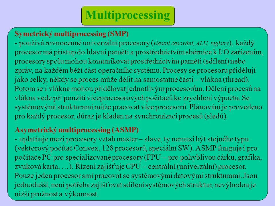 Symetrický multiprocessing (SMP) - používá rovnocenné univerzální procesory ( vlastní časování, ALU, registry ), každý procesor má přístup do hlavní paměti a prostřednictvím sběrnice k I/O zařízením, procesory spolu mohou komunikovat prostřednictvím paměti (sdílení) nebo zpráv, na každém běží část operačního systému.