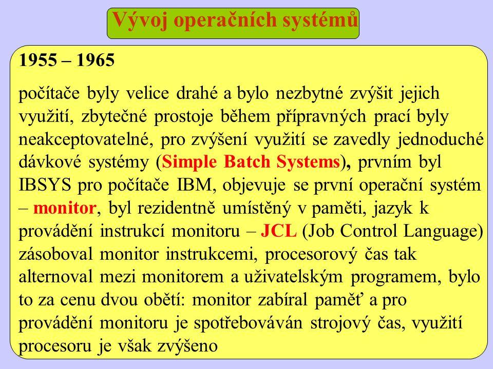 Vývoj operačních systémů 1955 – 1965 počítače byly velice drahé a bylo nezbytné zvýšit jejich využití, zbytečné prostoje během přípravných prací byly