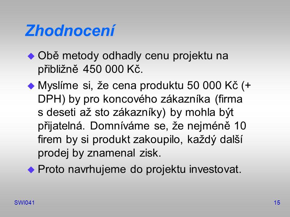 SWI04115 Zhodnocení u Obě metody odhadly cenu projektu na přibližně 450 000 Kč.