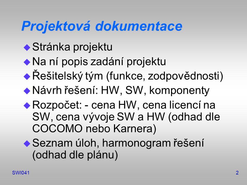 SWI0412 Projektová dokumentace u Stránka projektu u Na ní popis zadání projektu u Řešitelský tým (funkce, zodpovědnosti) u Návrh řešení: HW, SW, komponenty u Rozpočet: - cena HW, cena licencí na SW, cena vývoje SW a HW (odhad dle COCOMO nebo Karnera) u Seznam úloh, harmonogram řešení (odhad dle plánu)