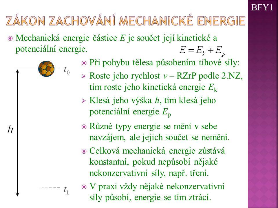  Mechanická energie částice E je součet její kinetické a potenciální energie.  Při pohybu tělesa působením tíhové síly:  Roste jeho rychlost v – RZ