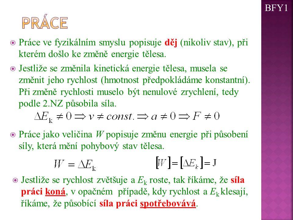  Práce ve fyzikálním smyslu popisuje děj (nikoliv stav), při kterém došlo ke změně energie tělesa.  Jestliže se změnila kinetická energie tělesa, mu