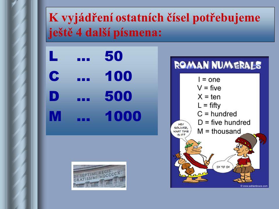 K vyjádření ostatních čísel potřebujeme ještě 4 další písmena: L…50 C…100 D…500 M…1000