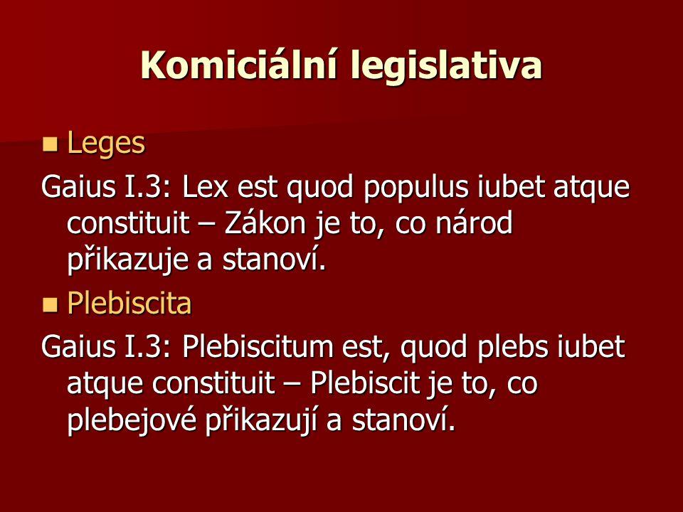 Komiciální legislativa Leges Leges Gaius I.3: Lex est quod populus iubet atque constituit – Zákon je to, co národ přikazuje a stanoví. Plebiscita Pleb