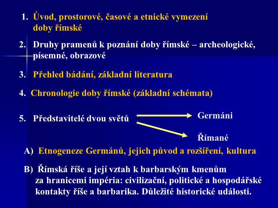 1. Úvod, prostorové, časové a etnické vymezení doby římské 2.Druhy pramenů k poznání doby římské – archeologické, písemné, obrazové 3. Přehled bádání,