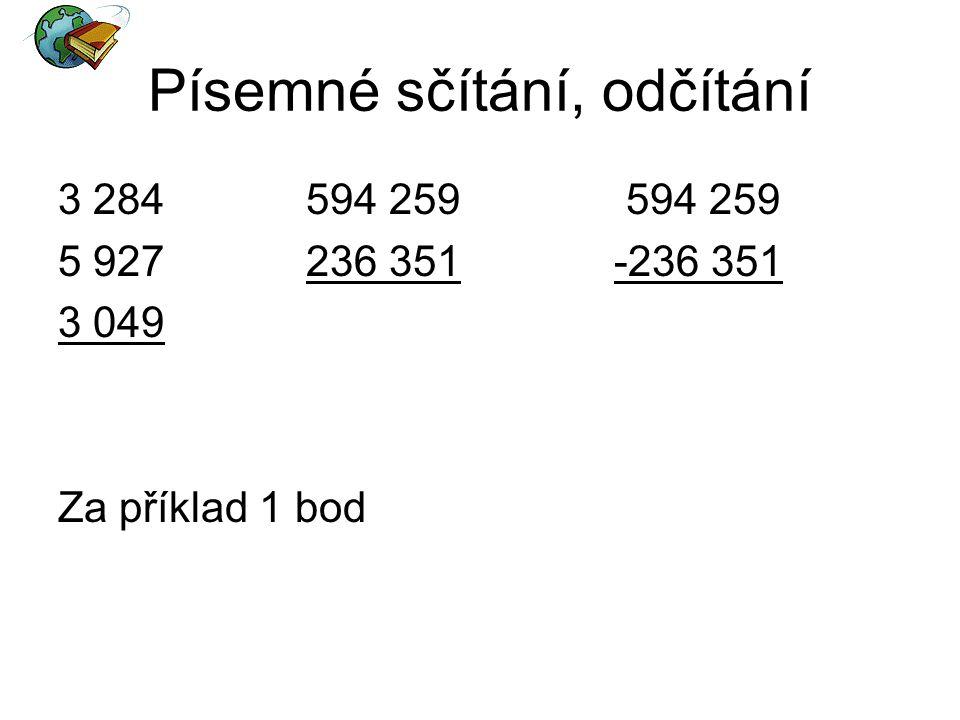 Písemné sčítání, odčítání 3 284 594 259 594 259 5 927 236 351 -236 351 3 049 Za příklad 1 bod